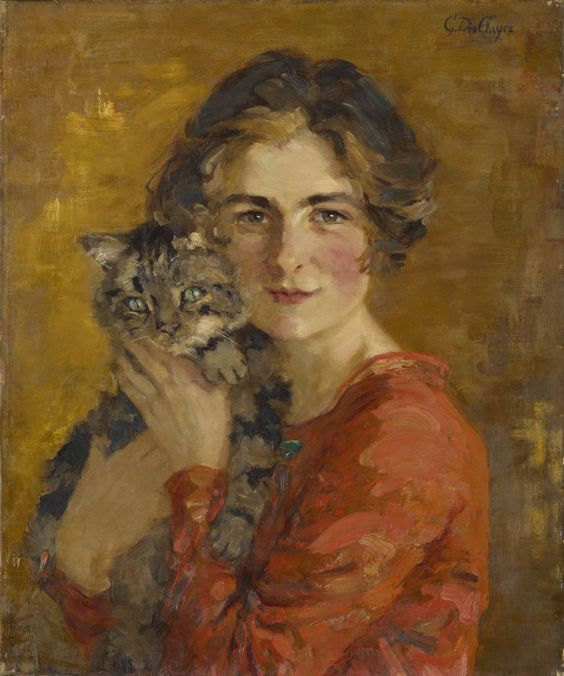 gerrude_des_clayes_woman_and_cat