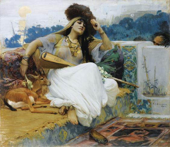 frederik_arthur_bridgman_jeune_femme_sur_une_terrace_oil_canvas_fashion_turban_orientalismu